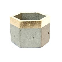 Concrete Metallic Hex Planter